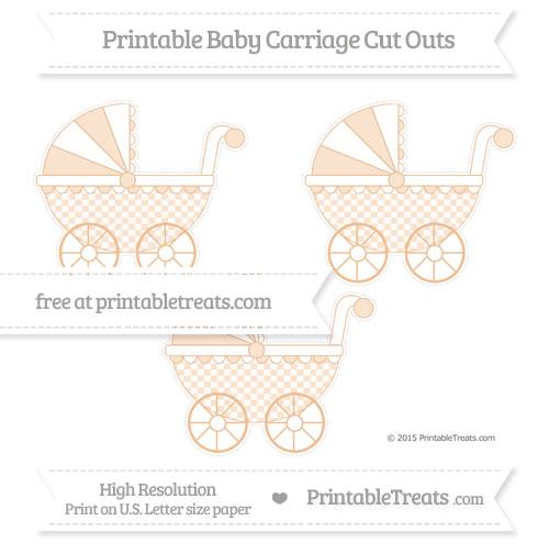 Free Pastel Orange Checker Pattern Medium Baby Carriage Cut Outs