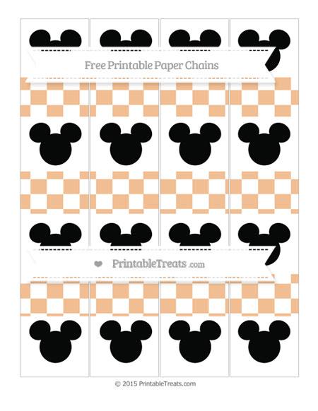 Free Pastel Orange Checker Pattern Mickey Mouse Paper Chains