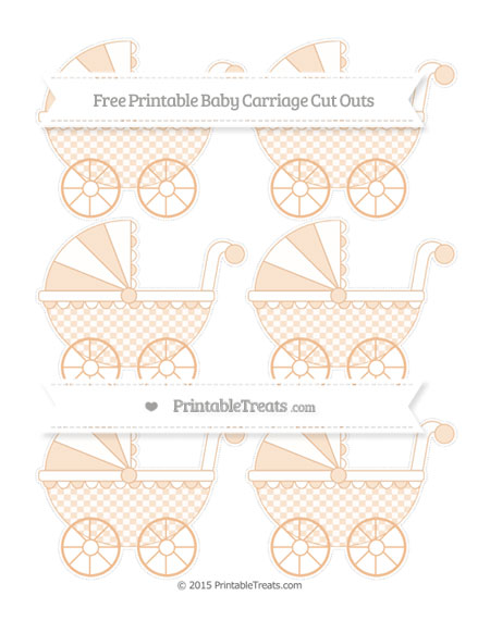 Free Pastel Orange Checker Pattern Small Baby Carriage Cut Outs