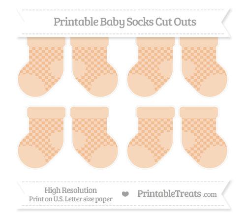 Free Pastel Orange Checker Pattern Small Baby Socks Cut Outs