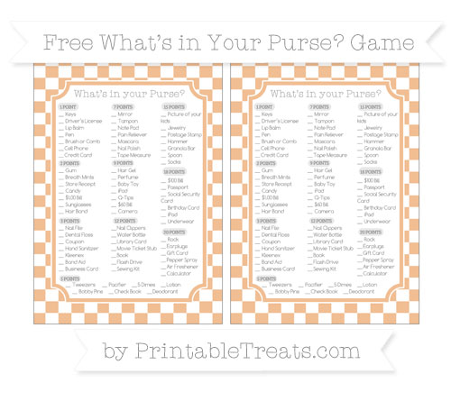 Free Pastel Orange Checker Pattern What's in Your Purse Baby Shower Game