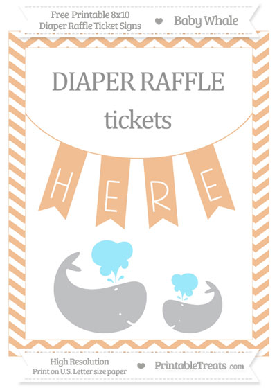 Free Pastel Orange Chevron Baby Whale 8x10 Diaper Raffle Ticket Sign