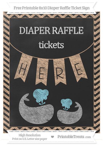 Free Pastel Orange Chevron Chalk Style Baby Whale 8x10 Diaper Raffle Ticket Sign