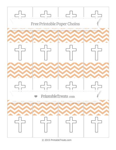 Free Pastel Orange Chevron Cross Paper Chains