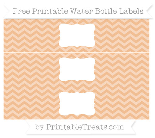 Free Pastel Orange Chevron Water Bottle Labels