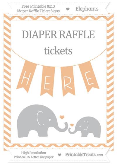 Free Pastel Orange Chevron Elephant 8x10 Diaper Raffle Ticket Sign