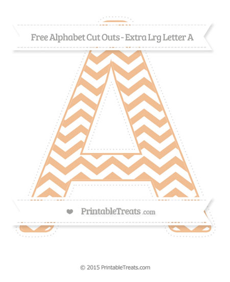 Free Pastel Orange Chevron Extra Large Capital Letter A Cut Outs