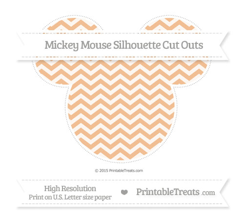 Free Pastel Orange Chevron Extra Large Mickey Mouse Silhouette Cut Outs
