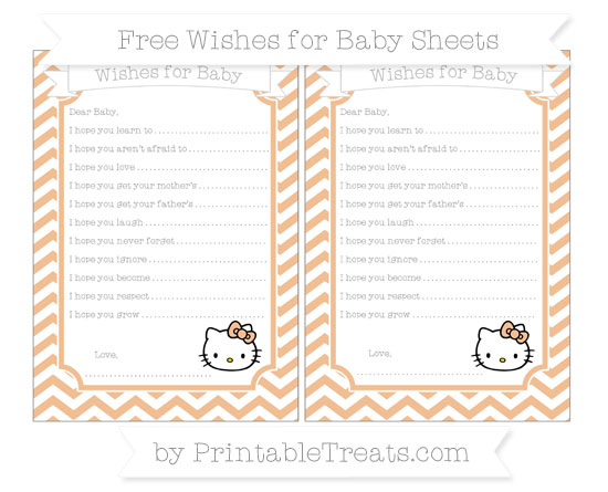 Free Pastel Orange Chevron Hello Kitty Wishes for Baby Sheets