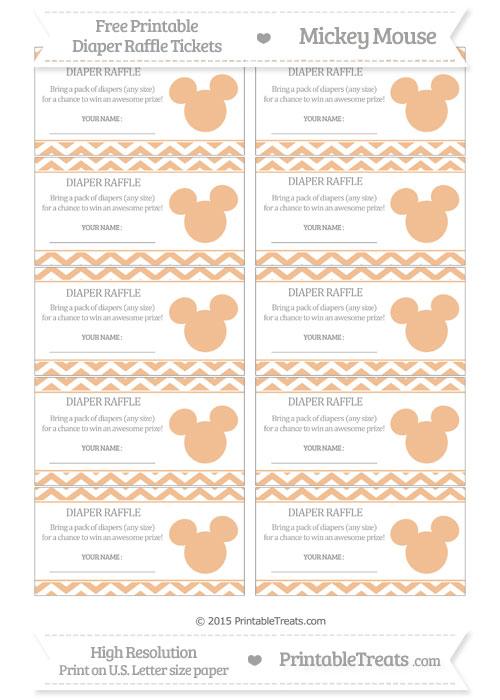 Free Pastel Orange Chevron Mickey Mouse Theme Diaper Raffle Tickets