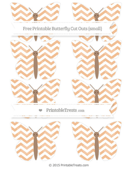 Free Pastel Orange Chevron Small Butterfly Cut Outs