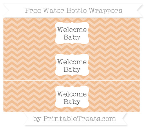 Free Pastel Orange Chevron Welcome Baby Water Bottle Wrappers
