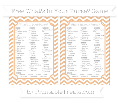 Free Pastel Orange Chevron What's in Your Purse Baby Shower Game