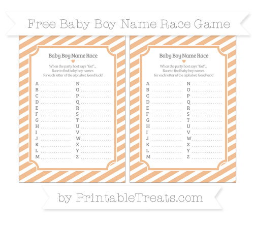 Free Pastel Orange Diagonal Striped Baby Boy Name Race Game