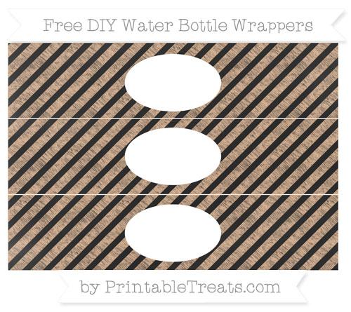 Free Pastel Orange Diagonal Striped Chalk Style DIY Water Bottle Wrappers
