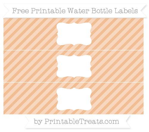 Free Pastel Orange Diagonal Striped Water Bottle Labels