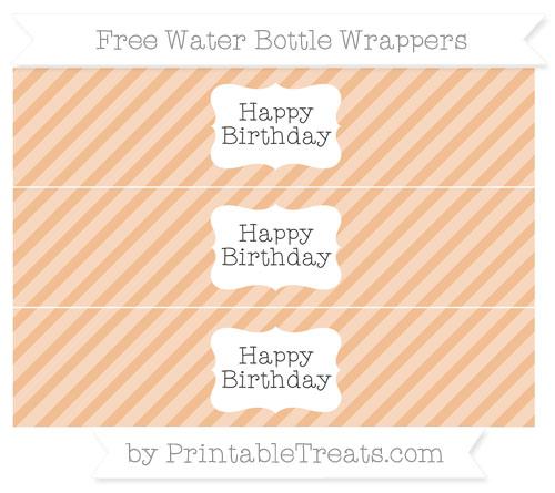Free Pastel Orange Diagonal Striped Happy Birhtday Water Bottle Wrappers