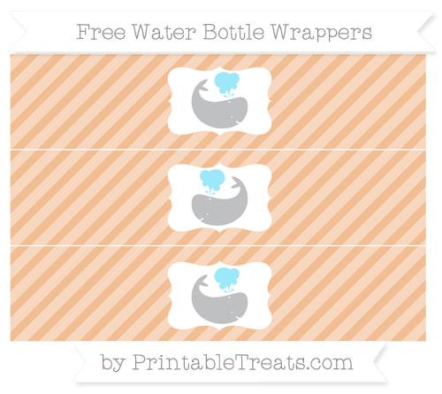 Free Pastel Orange Diagonal Striped Whale Water Bottle Wrappers