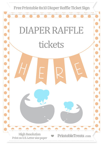 Free Pastel Orange Dotted Baby Whale 8x10 Diaper Raffle Ticket Sign