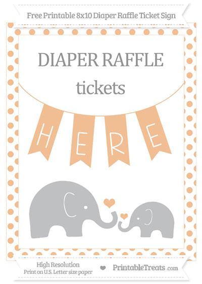 Free Pastel Orange Dotted Elephant 8x10 Diaper Raffle Ticket Sign