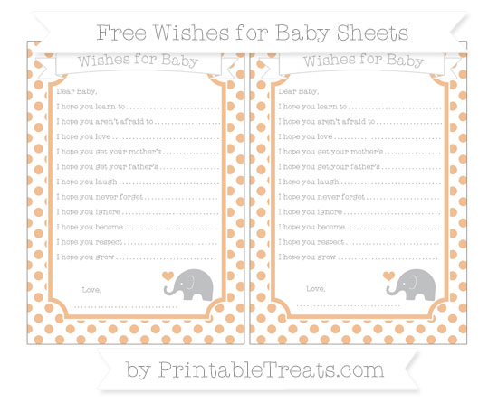 Free Pastel Orange Dotted Pattern Baby Elephant Wishes for Baby Sheets