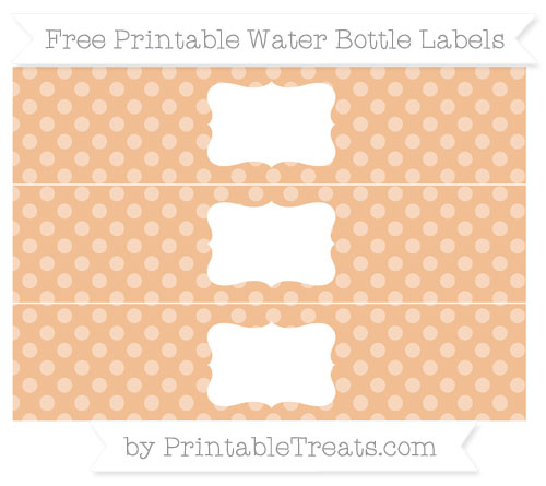Free Pastel Orange Dotted Pattern Water Bottle Labels