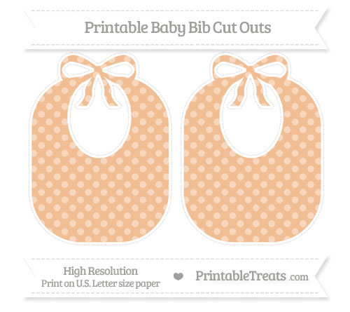 Free Pastel Orange Dotted Pattern Large Baby Bib Cut Outs