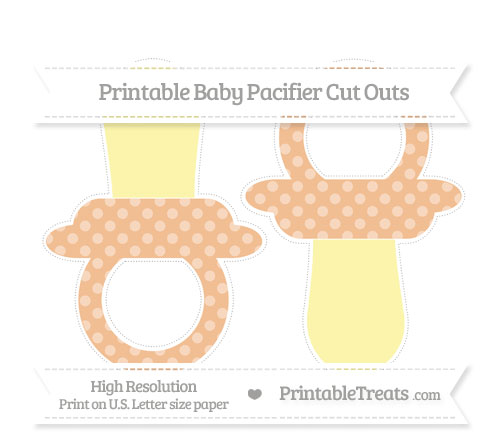 Free Pastel Orange Dotted Pattern Large Baby Pacifier Cut Outs