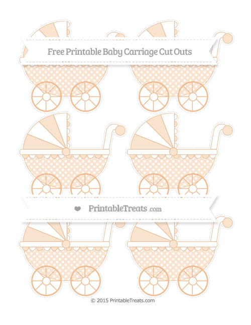 Free Pastel Orange Dotted Pattern Small Baby Carriage Cut Outs