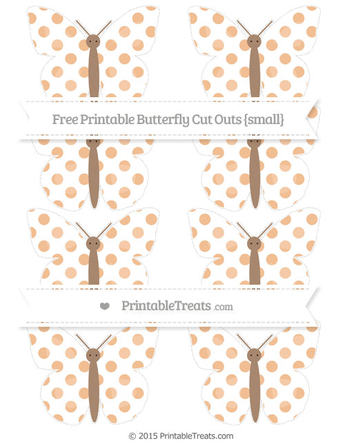 Free Pastel Orange Dotted Pattern Small Butterfly Cut Outs