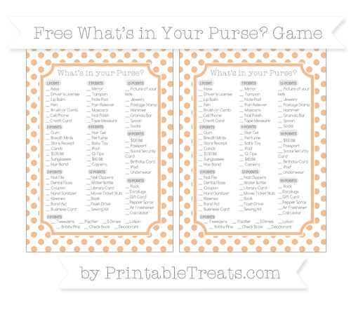 Free Pastel Orange Dotted Pattern What's in Your Purse Baby Shower Game