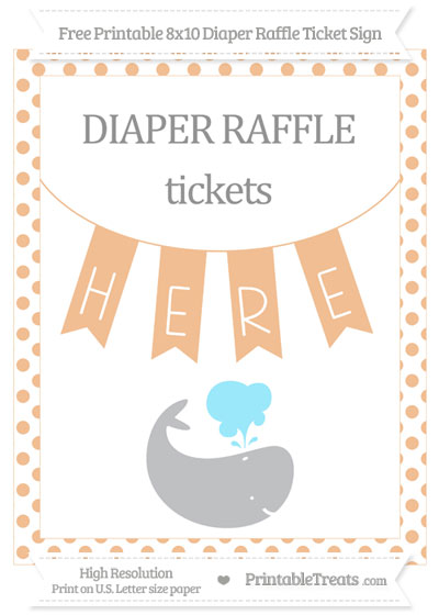 Free Pastel Orange Dotted Whale 8x10 Diaper Raffle Ticket Sign