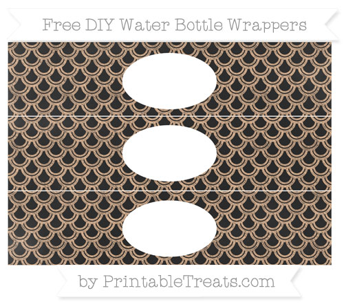 Free Pastel Orange Fish Scale Pattern Chalk Style DIY Water Bottle Wrappers
