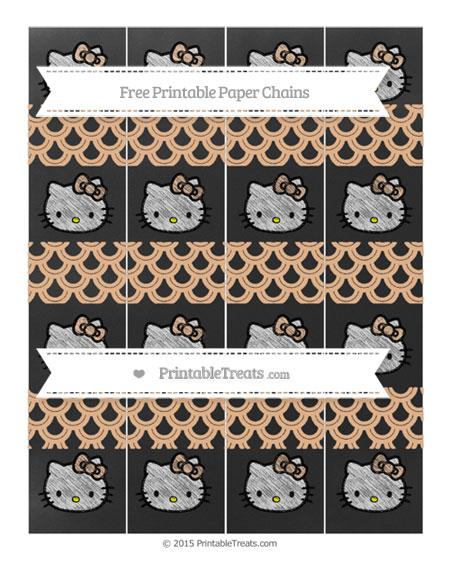 Free Pastel Orange Fish Scale Pattern Chalk Style Hello Kitty Paper Chains