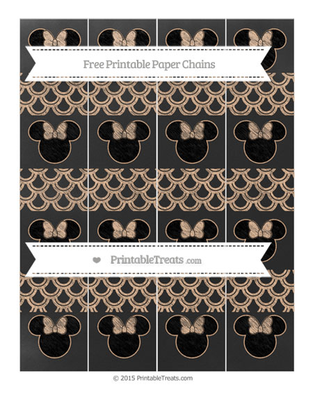 Free Pastel Orange Fish Scale Pattern Chalk Style Minnie Mouse Paper Chains