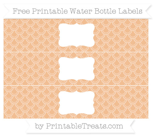 Free Pastel Orange Fish Scale Pattern Water Bottle Labels
