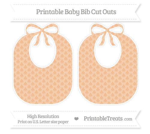 Free Pastel Orange Fish Scale Pattern Large Baby Bib Cut Outs