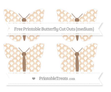 Free Pastel Orange Fish Scale Pattern Medium Butterfly Cut Outs