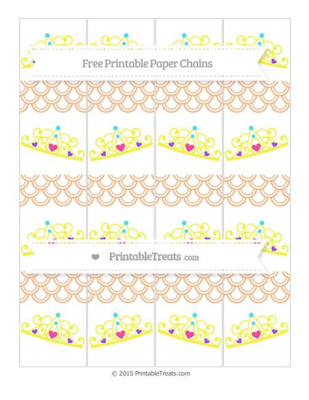 Free Pastel Orange Fish Scale Pattern Princess Tiara Paper Chains