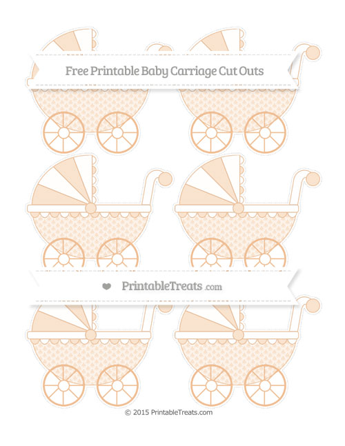 Free Pastel Orange Fish Scale Pattern Small Baby Carriage Cut Outs