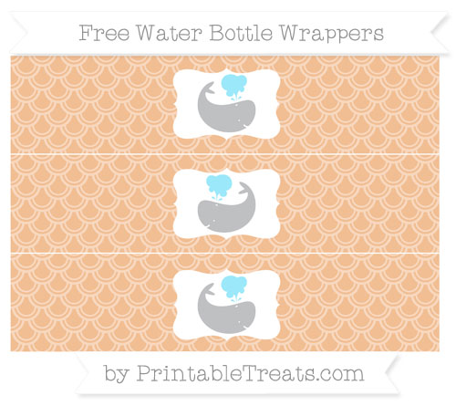 Free Pastel Orange Fish Scale Pattern Whale Water Bottle Wrappers