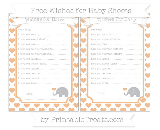 Free Pastel Orange Heart Pattern Baby Elephant Wishes for Baby Sheets