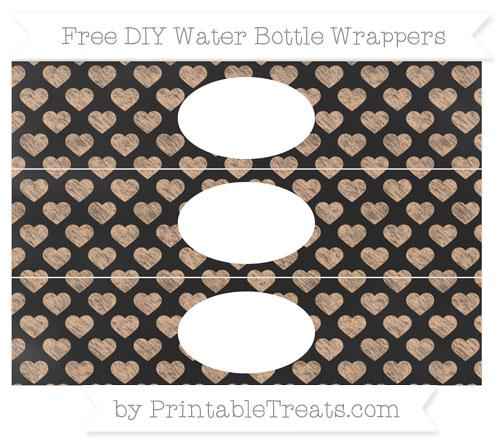 Free Pastel Orange Heart Pattern Chalk Style DIY Water Bottle Wrappers