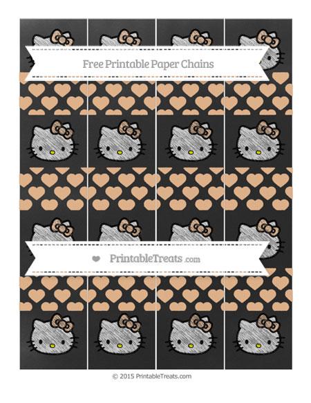 Free Pastel Orange Heart Pattern Chalk Style Hello Kitty Paper Chains