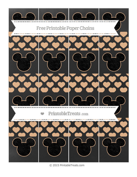 Free Pastel Orange Heart Pattern Chalk Style Mickey Mouse Paper Chains