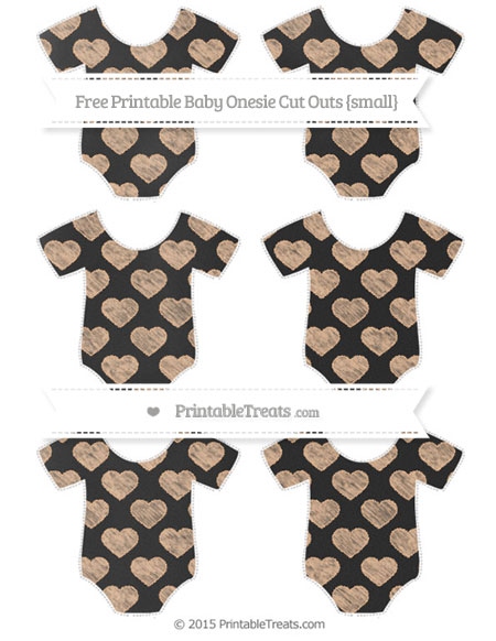 Free Pastel Orange Heart Pattern Chalk Style Small Baby Onesie Cut Outs