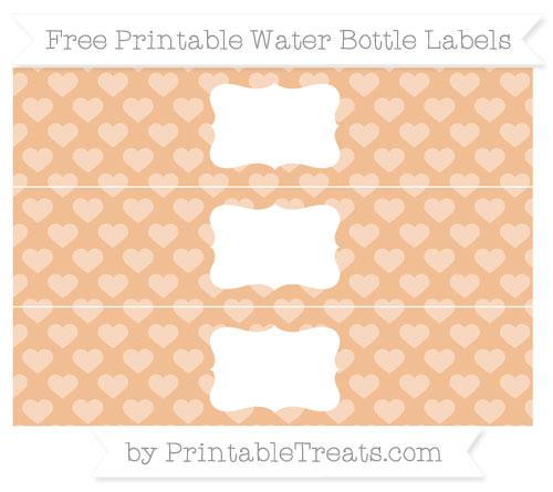 Free Pastel Orange Heart Pattern Water Bottle Labels