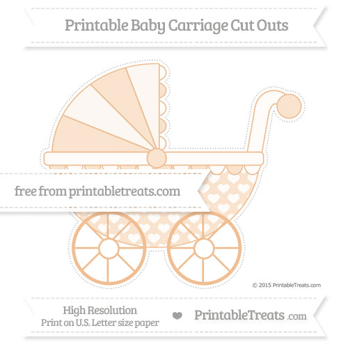 Free Pastel Orange Heart Pattern Extra Large Baby Carriage Cut Outs