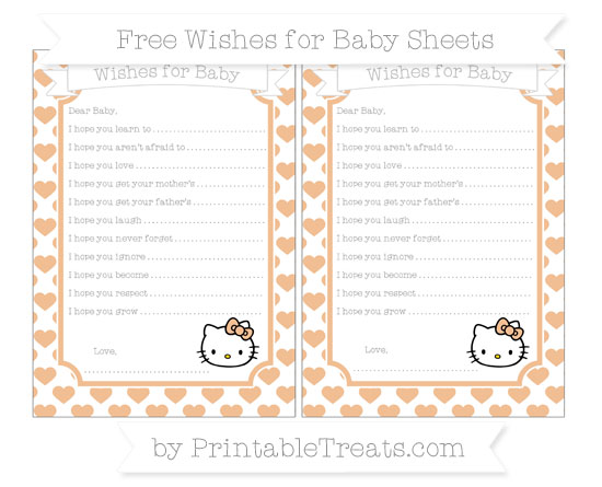 Free Pastel Orange Heart Pattern Hello Kitty Wishes for Baby Sheets