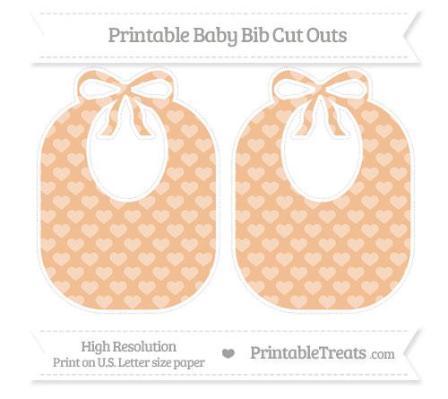 Free Pastel Orange Heart Pattern Large Baby Bib Cut Outs